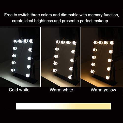 Large Makeup Mirror Touch Screen with 12 Big LED Bulbs Lighted Adjustable Brightness White