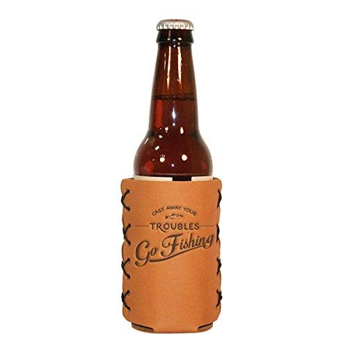 Go Fishing Leather Bottle Sleeve and Insulator for your 12-oz long-neck Bottle 12 Oz Long Neck Bottle