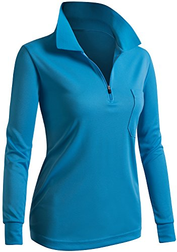 CLOVERY Breathable Functional Coolmax Fabric Long Sleeve Zipup POLO Shirt AQUA US L / Tag L - Ladies Moisture Free Pique