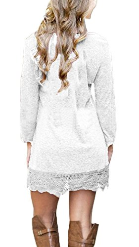 MiYang Women's Long Sleeve A-line Lace Stitching Trim Casual Dress XL White