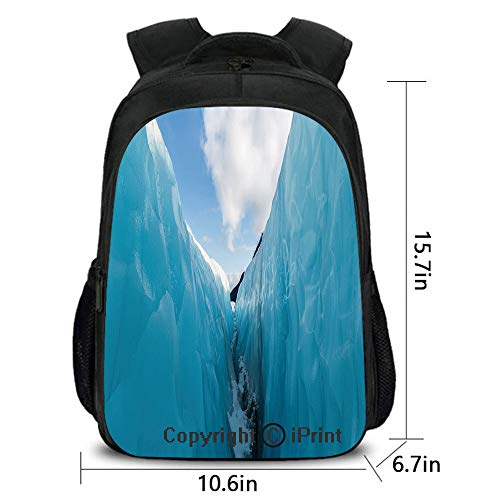 Lady Custom Backpack,Frozen Ice Mountains in North South Polar Cubes Winter Theme Art Print,School Bag :Suitable for Men and Women,School,Travel,Daily use,etc.White and Blue