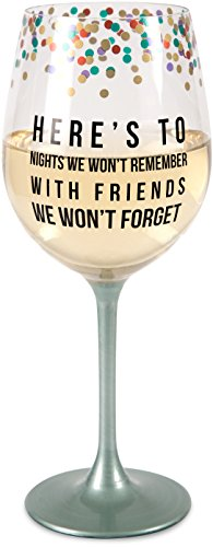 Pavilion Gift Company 75136 Friends We Won't Forget Wine Glass, 12 oz, Multicolor (Glasses Fun Wine)