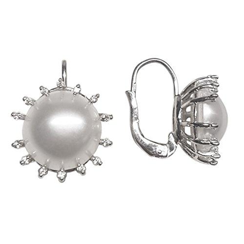Clearance Boucles d'Oreilles Femme en Or 18 carats Blanc avec Perle de Culture et Zircon Blanc, 8 Grammes