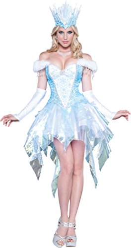InCharacter Costumes Women's Sexy Snow Queen Costume, Blue/White, Medium (Snow White Halloween Costume Adults)