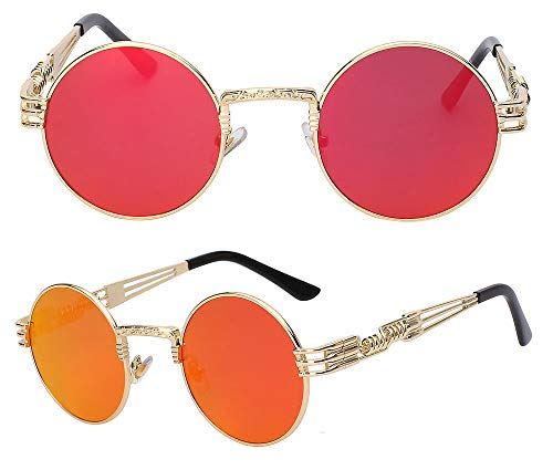 The Bad and Boujee's Sunglasses Steampunk Trendy Hip Hop Shades (Gold Frame + Red Mirror ()