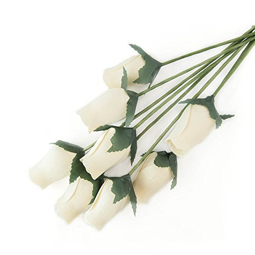 White Bunch of 8 Closed Bud Wooden Roses for Crafts Custom Bouquets and Other DIY Projects. Choose Form Over 50 Colors.