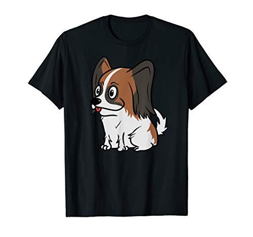 Funny Papillon Cute Cartoon Graphic T-Shirt Dog Tee