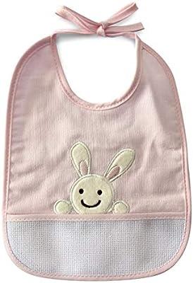 Babero de algodón para bebé niña con cierre de cordones o velcro y tela aida para poder bordar el nombre 1 pieza Coniglietto Rosa: Amazon.es: Bebé