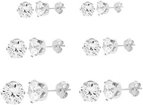 Women's Stainless Steel Round Clear Cubic Zirconia CZ Stud Earring 6 Pair Set 3-8mm