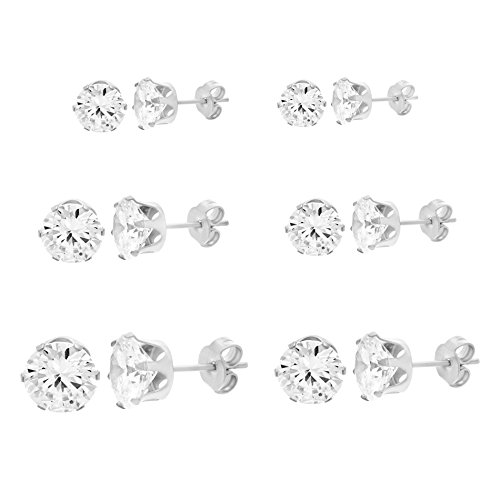 Women's Stainless Steel Round Clear Cubic Zirconia CZ Stud Earring 6 Pair (3 Pair Set)