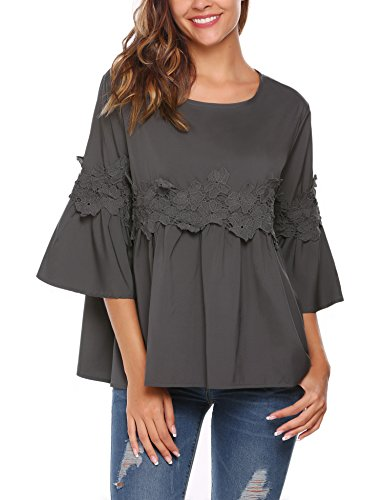 Soteer Women Flare Sleeve Lace Splice Loose Trim Casual Blouse T-shirt Tops(Dark Grey M)