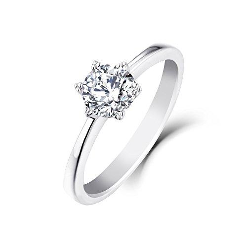 YL 9 ct White Gold 0.8 ct Moissanite Engagement Wedding Ring(SizeN)