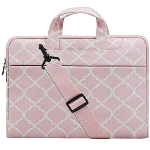 Fashionable Laptop Bags - MOSISO Laptop Shoulder Bag Compatible 15-15.6 Inch MacBook Pro, Ultrabook Netbook Tablet, Canvas Geometric Pattern Protective Briefcase Carrying Handbag Sleeve Case Cover, Pink Quatrefoil