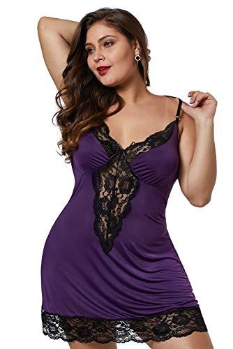 XAKALAKA Women Plus Size Babydoll Lingerie Back Crisscross Lace Trim Chemise Sleepwear Purple XXXXL