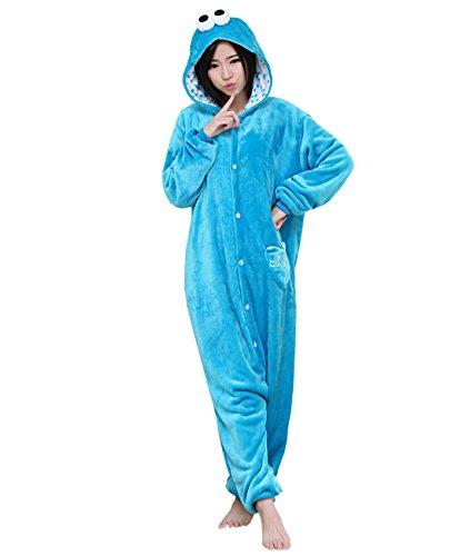 Yimidear Unisex Adult Onesie Cookie Monster   Elmo Kigurumi Anime Sleepsuit  Cosplay Costume (Cookie Monster 0d27d8d0e