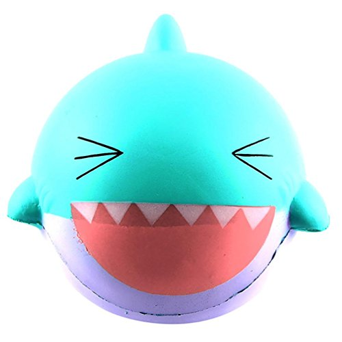 Shark Stress Reliever - Squishy Shark Slow Rising Toys, Staron Jumbo Soft Squishies Large Shark Stress Reliever Squishy Scented Charms Toys for Kids and Adults (Mint Green)