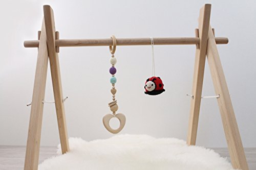Wooden baby gym frame, foldable play gym, activity gym, hanging bar, baby play gym bar, wood, non toxic, organic (Wooden Gym Baby)