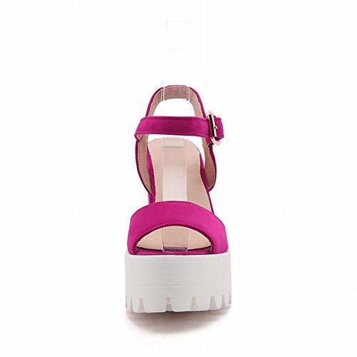 Mee Shoes Damen Blockabsatz Plateau Schnalle Sandalen Rosarot