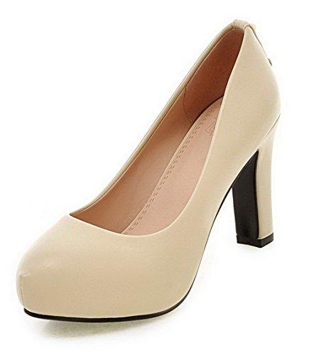 VogueZone009 Damen Ziehen auf Hoher Absatz PU Leder Rein Rund Zehe Pumps Schuhe Cremefarben