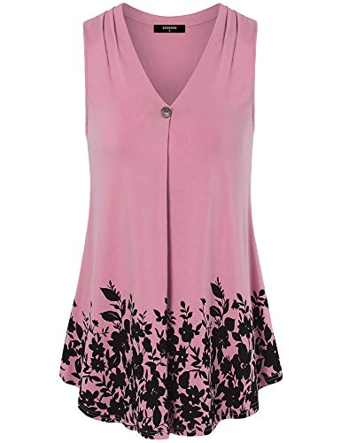 Lotusmile Basic Blouse Womens Sleeveless, Young Women Fashion Summmer Casual Sleeveless Tank Top Elegant Floral Print Camisole V Neck A Line Tunic Blouses Shirts for Workout,Deep Pink XL