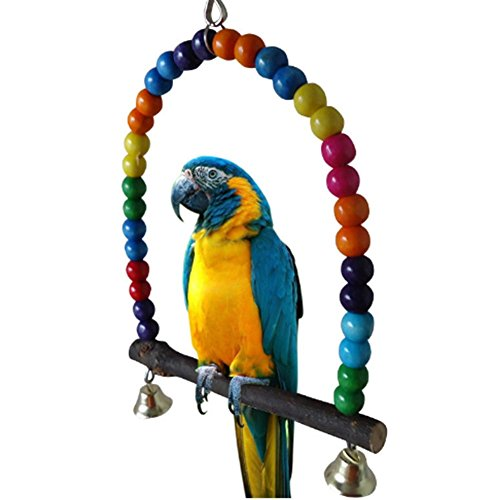 LIANCHI Small or Large-Sized Parrot Toy Pure Natural Colorful Bead Cage Parrot Chewing Toy (Large) by LIANCHI