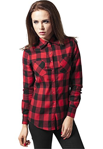 Ladies Classics Para Flanell Shirt Blk Urban Checked Camisa Mujer red q7d5wO