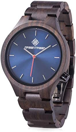 Men's Watch Wooden Watches with Real Wooden case and Strap (Blue)