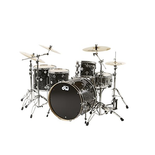 DW-Collectors-Series-4-Piece-Shell-Pack-w24-Bass-Drum-Black-Velvet-Chrome-Hardware