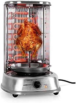 oneConcept Kebab Master - Parrilla vertical giratoria, Pollo, Gyros, Pincho giratorio verical, Grill eléctrico, 1800 W, Reparto calor 360°, Desmontable y apto para lavavajillas