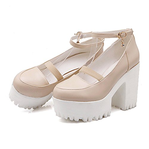 Beige Heel Platform Fashion AIWEIYi Shoes Women's Strap Ankle Chunky C1xSqUwP8