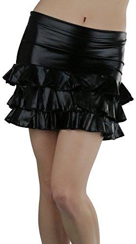 Tobeinstyle Women'S High Waisted Mini Ruffles Skirt - Black - Medium by ToBeInStyle