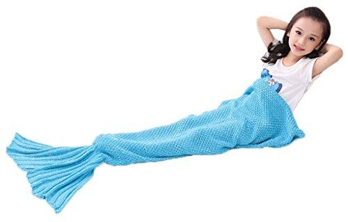 Houtemy Mermaid Blanket for Teens Blue Handcrafted Crochet S