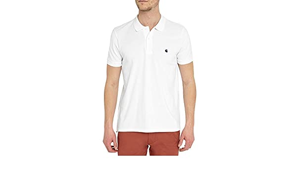 Carhartt Hombre Polos S/S Slim Fit Polo Blanco X-Small: Amazon.es ...