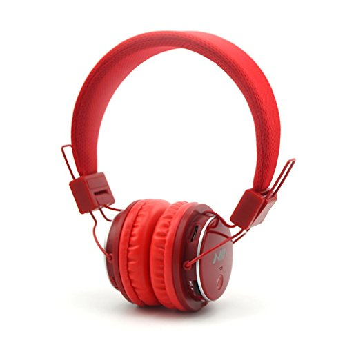 Wireless Headphones,NIA Q8 Multifunctional Foldable Bluetooth Headphones with Microphone, Micro SD Card Player, Built-in FM Radio -Red