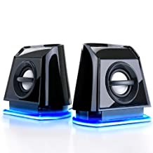 GOgroove PC Gaming Laptop Computer BassPULSE USB / Stereo Speakers with Blue LED Glow Lights , Powerful Bass & Passive Subwoofers - For Counter-Strike: Global Offensive , Dota 2 , Football Manager 2017 , Rocket League and many more