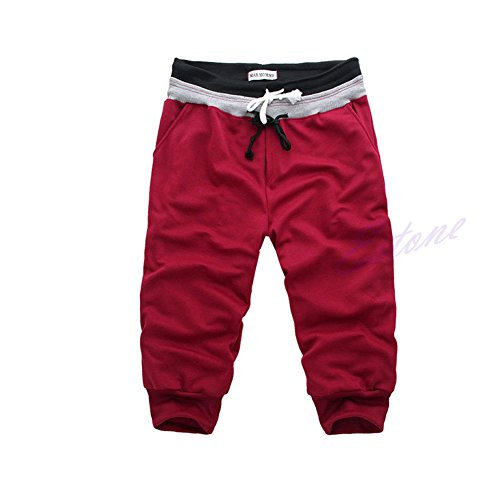 Leward(ld) Sports Sweat Pants Harem Training Dance Baggy Jogging Casual Men Trousers Shorts (XL, Red)