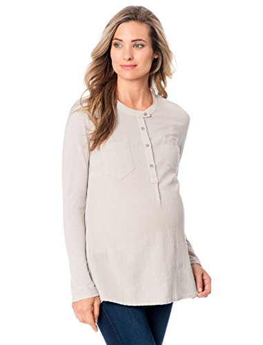 Splendid Long Sleeve Button Front Maternity Shirt, Barley, Large