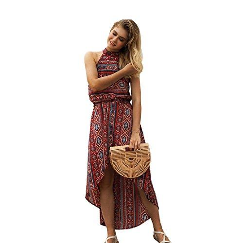 Coolred Printed Beach Retro Red Floral Women Hem Dress Unbalanced Long 0r1SBU0