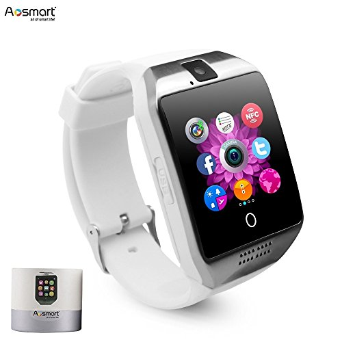 Smart Watch with Camera, Aosmart Q18 Bluetooth Smartwatch with Sim Card Slot Fitness Activity Tracker Sport Watch for Android Smartphones (White)