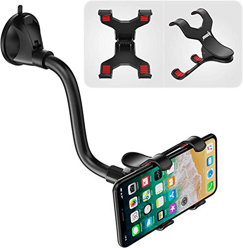 IPOW Upgraded No Glue Car Phone Mount Windshield with Strong Suction, Long Arm Cell Phone Holder for Car with X-Shaped Clamp Fits Thick/Irregular Phone Case