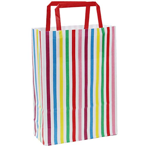 MAINETTI Pack of 10 Candy Stripe Gift / Kids Party bags (Flat Handle) – 18x8x25cm