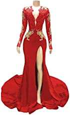 938686803c Women s Sexy Deep V Zipper Long Sleeves Formal Prom Gowns Gold Applique  Mermaid Court Train Evening Dresses