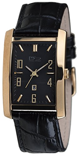Daniel Steiger Richmond Gold Black Watch - Classic Rectangle Case - Gold Plated Solid Stainless Steel - Black Leather Band - Precision Quartz Movement with Date