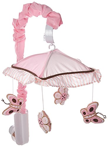 GEENNY Musical Mobile, Boutique Pink/Brown Butterfly