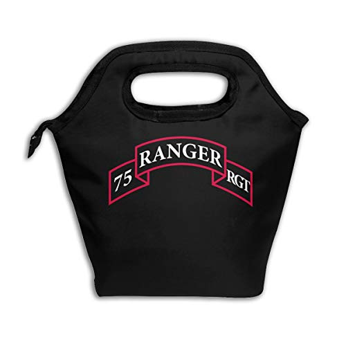 (LUNCHGOGO US Army Retro 75th Ranger Regiment Logo Lunch Box Bag, Reusable Insulated Cooler Ice Lunchbox Tote Bag Handbag for Men Women Adult Kids)