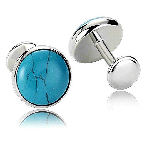 MoAndy Men's Cufflinks Stainless Steel Plain Series Mirror Round Silver Blue - Gold Tie Pin Lapis