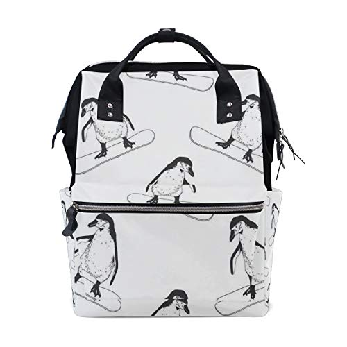 Diaper Bags Skiing Penguins Fashion Mummy Backpack Multi Functions Large Capacity Nappy Bag Nursing Bag for Baby Care for Traveling