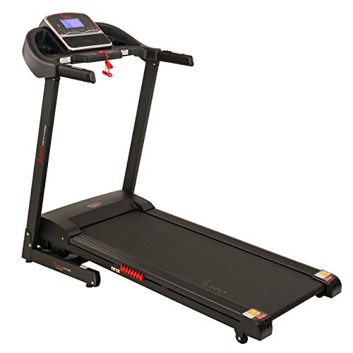 Sunny Health & Fitness SF-T7861 Electric Treadmill with Auto Incline and USB Charging Function, Black