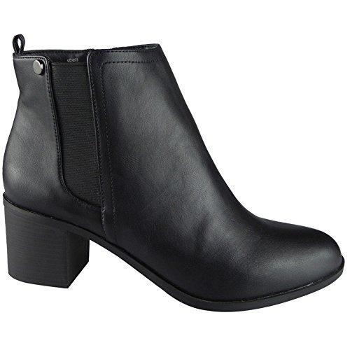 Damen Reißverschluss Mitten Hacke Beiläufig Arbeit Knöchel Stiefel Größe 37-41 Schwarz