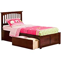 Mission Bed with Flat Panel Foot Board and 2 Urban Bed Drawers, Twin, Antique Walnut